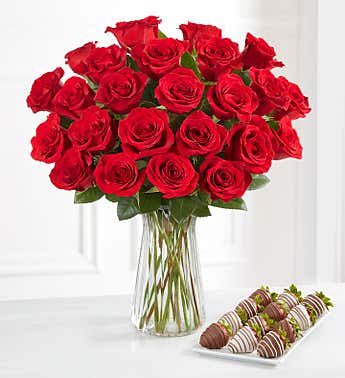 Deliciously Decadent™ Red Roses And Strawberries