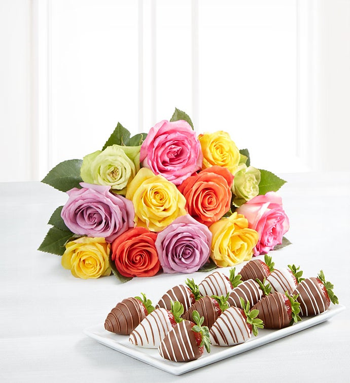 Deliciously Decadent™ Multicolored Roses & Strawberries